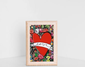 Love card heart, love postcards, romantic card for anniversary, heart cards, valentine's gift, art postcard, valentine's day card