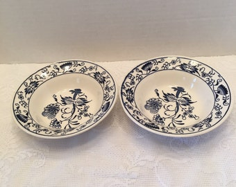 Royal China Blue Onion Bowls ~ Two Medium Bowls ~ Sebring Ohio ~ Vintage