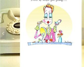 Make-Up humor, Funny Woman Birthday card - Funny birthday cards for woman - Girlfriend cards  Birthday - Girlfriend humor - for fab woman!