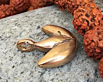 Bronze Lotus Charm - Handmade Rustic Lotus Charm - Lost Wax Cast Lotus Charm - Buddhist Lotus Charm - Lotus Pendant - Hindu Charm
