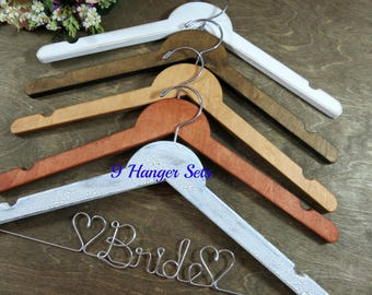 Wedding Party Hangers - Notched Brown Wood - Names In Wire - Wedding Photo Props - Bridesmaid Hangers - Gifts for Bridesmaids - Shower