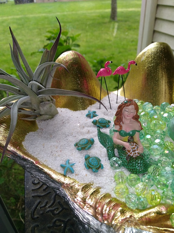 Mermaid With Turtle Miniature Undersea Terrarium Figurine