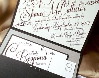 Art Deco Wedding Invitation, Great Gatsby Wedding Invitation, Roaring 20s Invitation, Slanted Script Wedding Invite, Pocket Fold, Sample