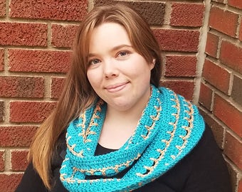 Blue scarf, patterned scarf, crocheted scarf, spring scarf, skinny scarf