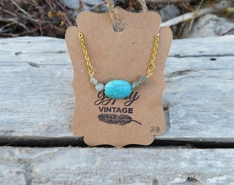 Turquoise and moonstone necklace