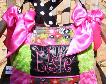 Hot Pink n Lime Green Rose Cuddle Floral Diaper Bag Black and White Polka Dot Hot Pink Bows