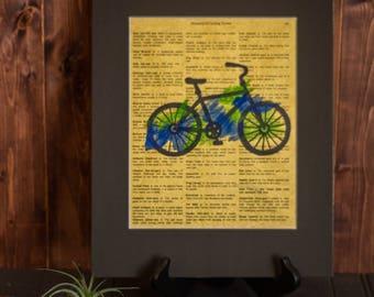 Bike Print, Bicycle Print, Dictionary Print