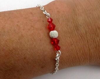 Silver bracelet red Swarovski Crystal, Pearl effect diamond