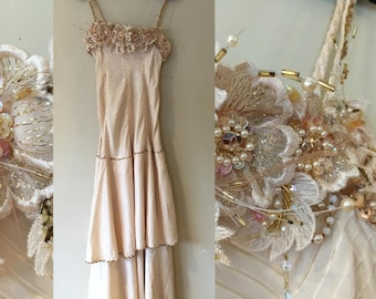AS IS Champagne 20s Inspired Formal Party Dress with Herringbone, Sequins and Beading size Small