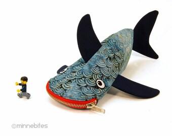 Meilleur vendeur requin crayon cas - sac à fermeture à glissière gars - crayon bleu marine pochette - accessoire de bureau bureau Mens - plongeur cadeau - prêt pour l'expédition