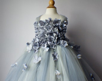 Flower girl dress Gray Dress, Gray tutu dress, flower top, hydrangea top, toddler tutu dress Cascading flowers