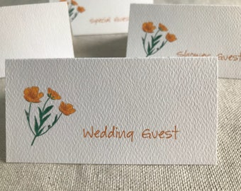 Buttercup Flowers, Tented Cards, Personalized Seating, Blank Name Cards, Wedding Event Cards, Tented Cards, Bridal Shower, Party Decor