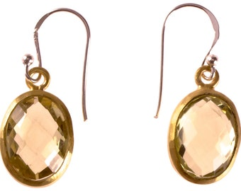 Silver earrings lemon quartz faceted oval gold-plated 925 sterling silver stone green (No. OSG-51)