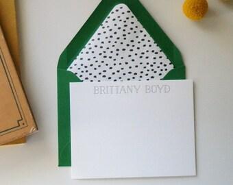 Letterpress modern personalized note cards