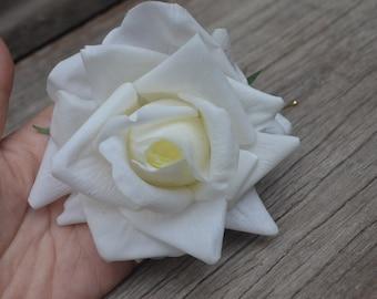 Wedding Flower Hair Clip-Real Touch White Rose Large Hair Clip, Rose Hair Clips, Bridal Hair Flower, Flower Girl Hair Pin