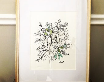 Pen and Ink Custom Floral Illustration, WhimsicalBridal Bouquet, Modern Floral, Archival Quality 8x10 print