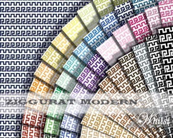 Art Deco digital paper men in 50 colors, ziggurat background paper craft supplies : L0737k v301