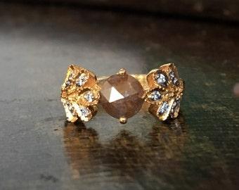 Woodland romance fairy engagement 6mm chocolate cinnamon rosecut diamond solitaire handcarved leaf round diamond engagement wedding ring