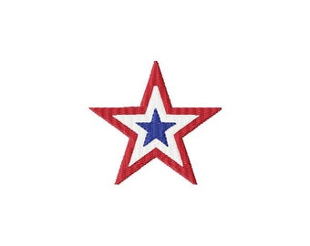 Red white and blue star Machine Embroidery design