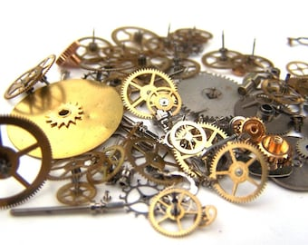 Steampunk Watch Pieces and Parts - 75 plus pieces of VINTAGE gears, wheels, cogs, hands, crowns, stems, etc.