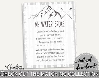 My Water Broke Baby Shower My Water Broke Adventure Mountain Baby Shower My Water Broke Gray White Baby Shower Adventure Mountain My S67CJ