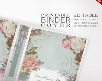 Binder Cover - Printable Editable French Country Vintage Rose Theme Instant Download - Multiple Spine Sizes - Organization Binder Cover