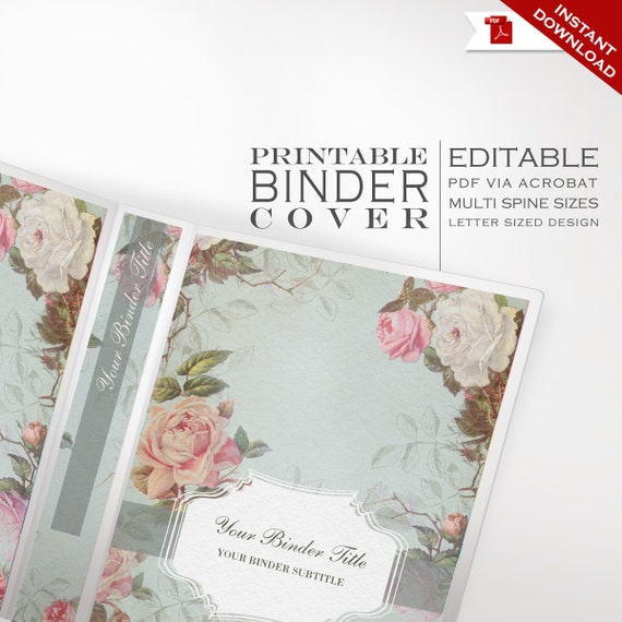 Binder Cover Printable Editable French Country Vintage Rose