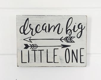 "Hand Painted ""Dream Big, Little One"" Sign // Baby Shower Gift // Nursery Decor // Nursery Art // Nursery Sign"