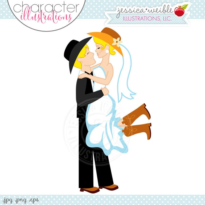 Blonde Western Bridal Couple Character Illustration Yellow