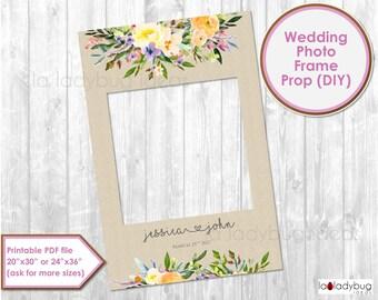 Wedding photo frame prop. Wedding photo prop. DIY PDF Printable file. Custom Floral rustic wedding prop. Floral frame for selfie station.