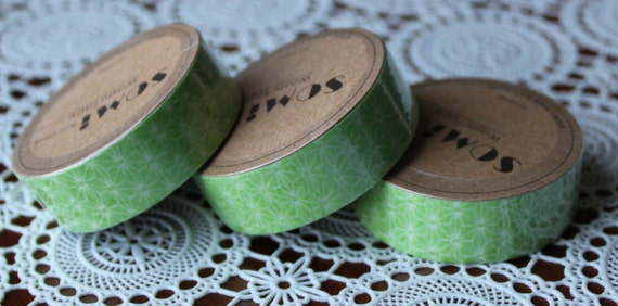 Scrapbook Supplies- 1 roll. Washi Tape. Green Flowers - Little Laser Lab