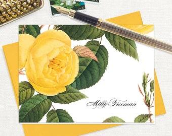 personalized stationery set - YELLOW ROSE - set of 8 folded note cards - stationary - botanical - floral - flower - gold envelopes