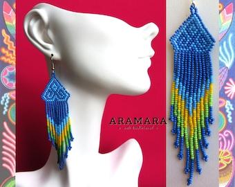 Huichol Earrings, Mexican folk art, Mexican earrings, Mexican Jewelry, Boho earrings, Native Jewelry, Native american earrings, AO-0081