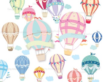 Air balloon Clipart,Hot air balloon Clipart,Party Clipart,Vector,Instant download Illustration_CA18