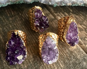 Druzy Ring,Amethyst Ring Gold,Gold Amethyst Ring,February Birthstone,Raw Stone Ring,Druzy Ring Gold,Gold Gemstone Ring,Raw Crystal Ring Gold