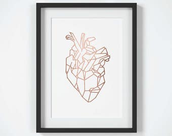 Geometric Heart Print, Copper Wall Art, Anatomical Heart Print, Rose Gold Wall Art, Geometric Heart Wall Art, Heart Decor Print,