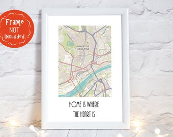 Newcastle Print, Newcastle Upon Tyne, Newcastle Map, Newcastle Art, Newcastle poster, north east england map, Newcastle Wall Art, PRINT ONLY