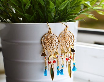 Cheyenne - Dream catcher gold earrings