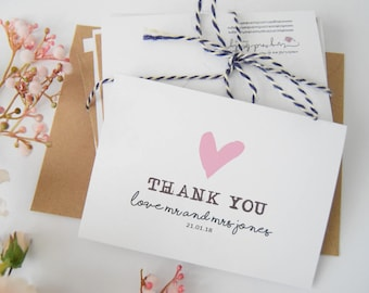 10x Thank You Cards | Personalised | Mini Thank You Cards | Thank You Note | Wedding Thank You Cards | Wedding Cards | With Envelopes