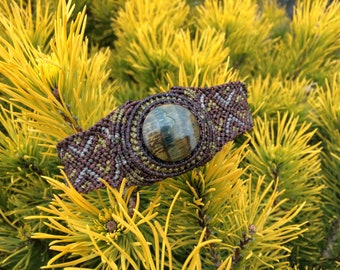 Men's bracelet brown macrame tiger eye gemstone cuff wrist band. Unique gift idea for him. Dark men fashion jewelry steampunk urban hippie