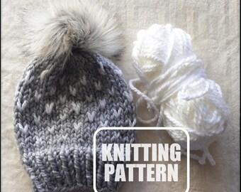 KNITTING PATTERN - Knitting Pattern // Knit Hat Pattern // Hat Knitting Pattern // Knit Hat // Tiny Hearts Hat // Easy Knit Pattern // Knit