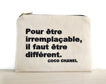 Chanel quotes zipper pouch / bag with Coco Chanel quote / clutch with embroidered quote / inspirational quote / wallet Chanel quote /