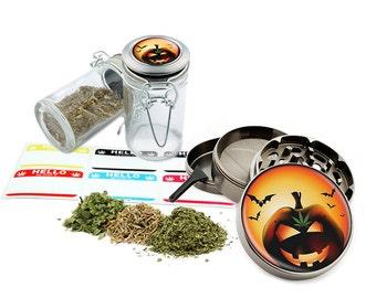 "Leaf Pumpkin - 2.5"" Zinc Alloy Grinder & 75ml Locking Top Glass Jar Combo Gift Set Item # G022015-039"