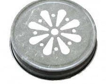 12 pcs Pewter Daisy Mason Jar Lid for Regular Mouth Mason Jars