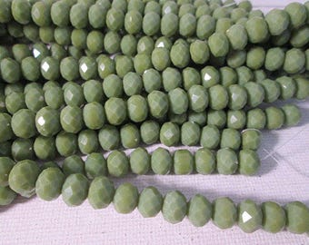 Crystal Beads, 8x6mm, Green Opaque Crystal Beads, Faceted Rondelle Crystal Beads, Chinese Crystal, 1mm Hole, 12 Inch Strand, QTY 1 - gc362