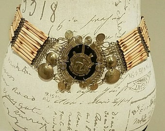 Vintage Brass and Wood Coin Belt