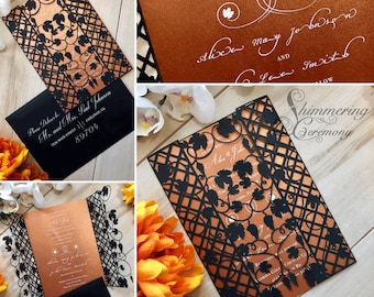 vineyard laser cut gatefold wedding invitation grapes and leaves wrapped around trellis invite