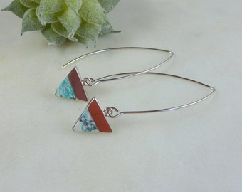 Color Collection. Silver and Mint Green Threader Earrings. triangle earrings. modern earrings. long earrings. dangle earrings. dainty