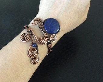 Lapis Lazuli Cuff Bracelet, Lapis lazuli bracelet, Copper Bracelet, Wire Wrapped Jewelry Handmade, Copper Jewelry, Lapis Lazuli Jewelry