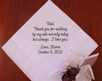 Thank you for walking by my side, Wedding Gift for Dad Embroidered hahnkie Personalized Gift for Father of the Bride handkerchief MS1F23